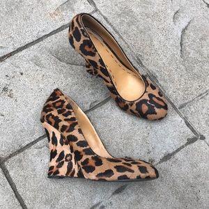 Nine West Leopard Print Calf Hair Wedges